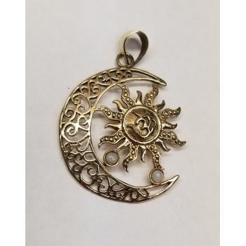 Brass Sun Moon Pendent