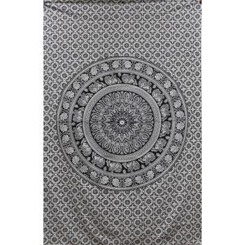Tapestry (BW Elephant mandala)